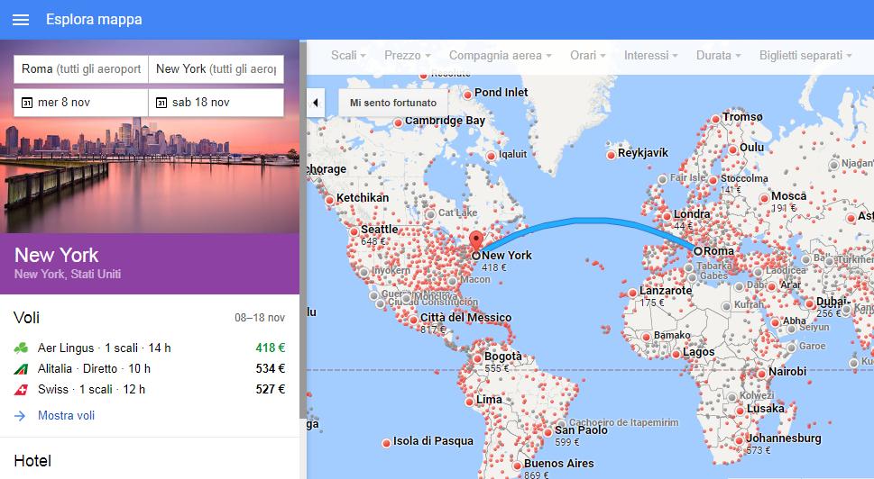 GOOGLE FLIGHT: motore di ricerca voli