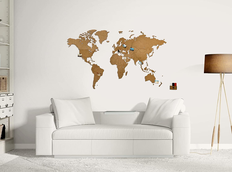 Cartina Del Mondo Da Parete.Mappa Mondo Da Parete In Legno Ecologico Amareviaggiare